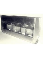 трех-секционная, без крышки, шириной 45см, объем 6,4 литра.