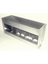 четырех-секционная, без крышки, шириной 45см, объем 6,4 литра.